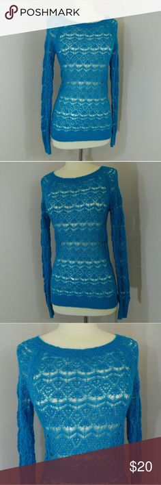 Blue knit Aeropostale long sleeve New with tags blue knit top Aeropostale size medium Feel free to ask questions Aeropostale Tops
