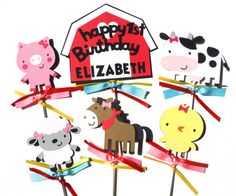 Items similar to Cute Girly Farm Animal's With Bows Themed Party Centerpiece Sticks Set of 6 Personalized With Name and Age on Etsy Farm Party Decorations, Party Centerpieces, Party Themes, Farm Animals, Tweety, Girly, Bows, Unique Jewelry, Birthday