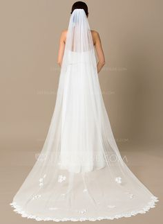 Chapel Bridal Veils Tulle One-tier Drop Veil Lace Applique Edge Applique Satin Flower 102.36 in (260cm) White Ivory Ivory Spring Summer Fall Winter A-line/Princess Ball Gown Empire Sheath Mermaid Color & Style representation may vary by monitor 0.3 kg 0.3
