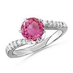 Angara Pink Sapphire Encrusted Loop Knot Ring DZssjM