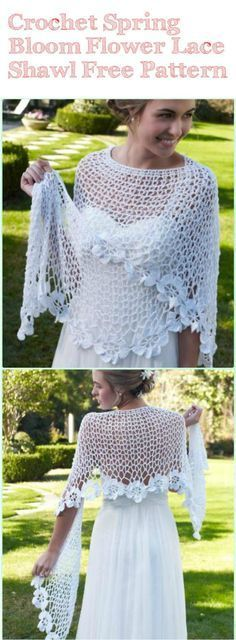 Crochet Spring Bloom Flower Lace Shawl - 10 FREE Crochet Shawl Patterns for Women's | 101 Crochet