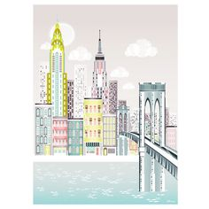 New York Print, Brooklyn Bridge Skyline Wall Art, American Cityscape, Skyline, City, Childs, Kids room and Nursery Decor. This bright and bold print would make a fun addition to any room. It makes a great housewarming or wedding gift and would add a nice touch to any travel inspired childrens room.  I print using archival quality ink and paper, ensuring that you have an enduring print of high quality. *** Size information ***  You can choose for the IMAGE size to be the following.  11 x 14…