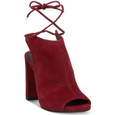 Kenneth Cole New York Women's Darla Lace Up Booties (€150) ❤ liked on Polyvore featuring shoes, boots, ankle booties, dark red, ankle strap boots, wrap boots, lace up ankle booties, lacing boots and lace up boots