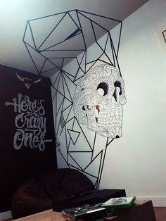 Tape ART - Love this idea (teen bedroom) Tape Art, Tape Wall Art, Graffiti Wall Art, Mural Wall Art, Art Et Design, Wall Design, Tattoo Studio Interior, Doodle Wall, Bedroom Murals