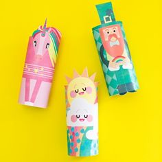 Grab the free printables to make this cute unicorn, cloud and leprechaun paper tube craft for St. Patrick's Day.