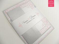 Pink Blush & Gray Damask Layered Wedding Invitations - Citlali Creativo LLC