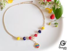 Beaded Necklace, Etsy, Jewelry, Products, Venezuela Flag, Gold Chains, Body Lotion, Crystal Necklace, Jitter Glitter