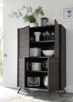 Modern retro style storage cabinet with 4 doors in wenge wood effect finish, shown open
