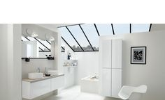 """Discover our modern bathroom """"Boudoir dream"""" and design your custom bathroom with soft tones fronts. With Schmidt, a bespoke bathroom is no longer a luxury. Made To Measure Furniture, Custom Made Furniture, Natural Bathroom, Beige Bathroom, Baño Color Beige, Custom Kitchens, Living Room Storage, Bathroom Interior Design, Bathroom Furniture"""