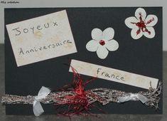 Carte anniversaire, coloris, noir, blanc et rouge