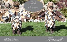 Simple Owl Costume Tutorial & I like how she made the owl's eyes. Toddler Owl Costume, Owl Costume Diy, Toddler Boy Halloween Costumes, Purim Costumes, Diy Halloween Costumes For Kids, Holidays Halloween, Owl Costumes, Bat Costume, Halloween 2020