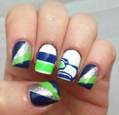 seattle seahawks nail art   iDream of Lacquer!: #12thmanmanicollab Seahawks Nail Art!