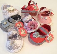 A personal favorite from my Etsy shop https://www.etsy.com/listing/210771677/baby-shower-shoe-favor-treat-holders