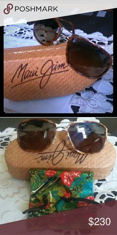 Sunglasses Muai Jim MAUI JIM Maui Jim Hawaiian Time  Frame Color:(282-16C)Antique Gold  Lens Color: HCL Bronze Protection: 100% UVA & UVB Titanium frame with acetate inserts and gloss finish MauiGradient lenses and unique color-enhancing polarization MauiPure lightweight, scratch- and impact- resistent lenses Double bridge design with ajustable, non-slip silicone nose pads Anti-corrosive traditional hinge Vintage- inspired updated aviator style Case and cleaning cloth included.  Original…