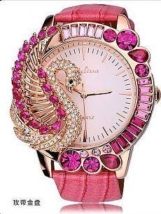 Melissa Fashion Women's Watch Luxury Big Dial Leather Band Pink Crystal Swan NEW Elegant Watches, Stylish Watches, Luxury Watches, Women's Watches, Animal Jewelry, Jewelry Art, Pink Watch, Amazing Watches, Rhinestone Belt