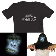 Ask me about my Gorilla Funny Flip Tee T-Shirt All Sizes Mens Free UK Postage