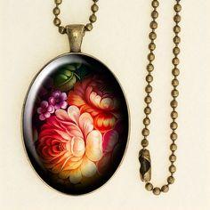 Folk Style Floral Pendant, Long Chain Necklace, Handmade Glass Cabochon, Antique Bronze 004R001K001B