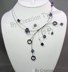 purple hematite necklace, wedding necklace, bridesmaids necklace,bridesmaids gifts, swirls, funky jewelry, brides necklace    Type: Piece of art