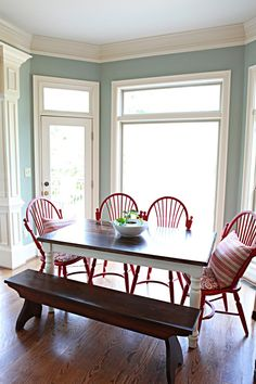This is like my exact table and wall color in the dining room! Soooo gonna paint the chairs red!
