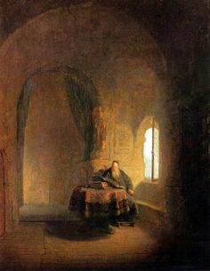 Rembrandt 'Philosopher Reading' 1631 Oil on wood. Late work, more emphasis on architectural elements