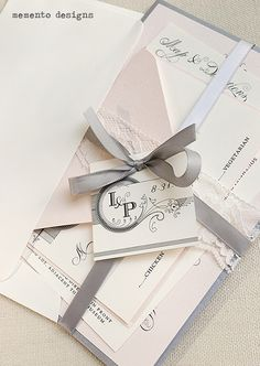 Blush and Grey Lace and Ribbon Wedding Invitation...so romantic! www.memento-designs.com