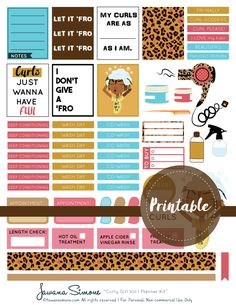 Curly Girl Vol I Weekly Planner Kit Stickers  Patreon Download  Tawana Simone
