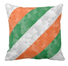 Irish Flag Colors and shamrocks Throw Pillow Irish flag made of shamrocks in green, white and orange. This product is ideal for any friend of Ireland or Irish person. A great surprise for Saint Patrick's Day celebartion! Timeless and elegant design that can please anyone!