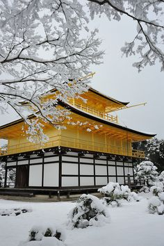 Travel Asian Japan 雪の金閣寺 Kinkakuji temple in snow by kubotake #Japan #snow #temple