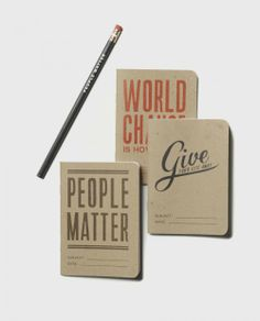 These are super cool looking. The purchase of this notebook set donates $7.00 to the cause of the week. Sevenly 3 notebook kit - Sevenly Collection - Brands