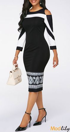 Cold Shoulder Printed Sheath Midi Dress On Sale At Modlily. Free shipping and cheap. Action now.