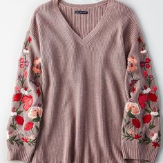 AE Soft & Pretty Sweater ($60) ❤ liked on Polyvore featuring tops, sweaters, pink, v neck sweater, long sleeve tops, long v neck sweater, pink v neck sweater and pink rose tops