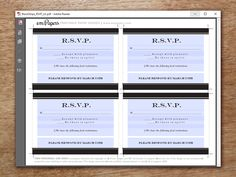 Elegant rsvp cards you can print at home! It's super quick and super easy. Just download the editable PDF template, enter your rsvp wording, print and cut.