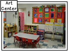Classroom Reveal! The art center in a preschool classroom. My art center has an art gallery, paint easels, drying rack, art shelf full of inviting materials, and playdoh. Pocket of Preschool