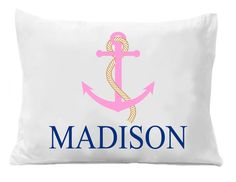Girls Beach Pillowcase Pink Anchor Pillow by TheTrendyButterfly Personalized Pillow Cases, Custom Pillow Cases, Monogram Pillowcase, Anchor Pillow, Beach Gifts, Kids Birthday Gifts, Room Themes, Pillowcases, Nautical