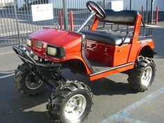 Yamaha Gas Golf Cart Lifted A-arm Off Road Tires utility basket lights hifi