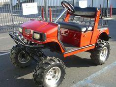 Yamaha Gas Golf Cart Lifted A-arm Off Road Tires utility basket lights hifi