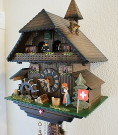 Musical Chalet Cuckoo Clock Swiss Made Mechnical by TheMontiShop, $600.00