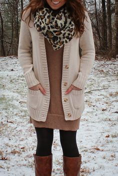 Brown and cream sweater dress, sweater, leopard print scarf and boots outfit Winter Teacher Outfits, Fall Winter Outfits, Autumn Winter Fashion, Fall Fashion, Winter Clothes, Fashion Moda, Work Fashion, Casual Outfits, Cute Outfits