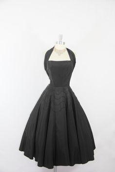 1950's Vintage Dress Black and White by VintageFrocksOfFancy