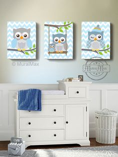 Owl Baby Nursery Canvas Print for any boys room. This is a set of three 10 x 12 (or selected size ) Owl Canvas Prints... The colors for this…