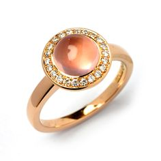 Rose gold, Rose quartz and diamond ring, stonechatjewellers.ie
