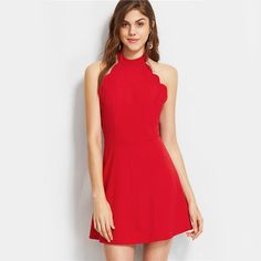 To find out about the Halter Neck Backless Scallop Skater Dress at SHEIN, part of our latest Dresses ready to shop online today! Prom Dresses With Sleeves, Grad Dresses, Event Dresses, Homecoming Dresses, Casual Dresses, Quinceanera Dresses, Women's Dresses, Perfect Prom Dress, Dress P