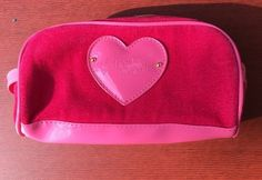 Victorias Secret Zip Up Pink Heart Makeup Cosmetic Bag Case Velvet NWOT  | eBay
