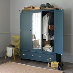 Westcote Blue Triple Wardrobe - The Cotswold Company Wardrobe Furniture, Wardrobe Design Bedroom, Blue Furniture, Wardrobe Closet, Bedroom Furniture, Wardrobe Ideas, Free Standing Wardrobe, Standing Closet, Bedroom Decor For Small Rooms