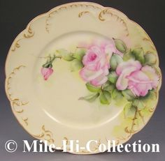 1888 Limoges Hand Painted Roses Plate <> (vintage lady, victorian)