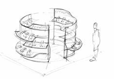 Sybarite Architects Skp Shin Kong Place Beijing Shoes Sketch Luxury Retail Fashion Visual Merchandising Shoe Store Design, Mall Design, Retail Design, Shoe Shop, Interior Sketch, Interior Concept, Shop Interior Design, Visual Merchandising Fashion, Cosmetic Shop