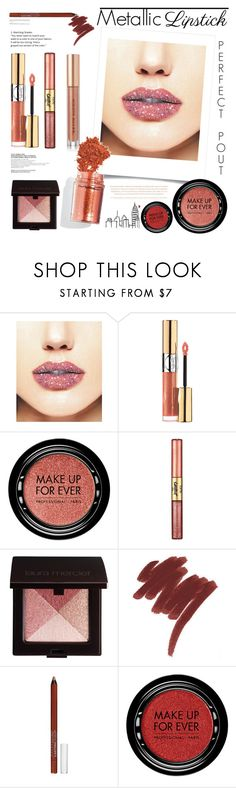 """""""Metallic Lipstick #2"""" by kipermatasari ❤ liked on Polyvore featuring beauty, Forever 21, Yves Saint Laurent, MAKE UP FOR EVER, tarte, Laura Mercier, Lazy Days, Lancôme, Maybelline and Kevyn Aucoin"""