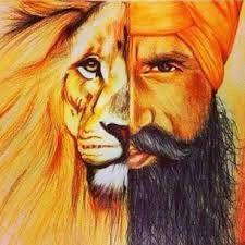 'Singh the Warrior' is a fusion of a Sikh man and Lion. It brings the essence of what it is to be a Singh, a warrior of the jungle, fearless, brave, and free spirited. Punjabi Boys, Punjabi Couple, Guru Tegh Bahadur, Guru Pics, Guru Gobind Singh, Religious Tattoos, Religious Art, Spiritual Paintings, Dev Ji