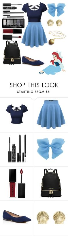 """Ariel collab with sisibff"" by crystalgems125 ❤ liked on Polyvore featuring LE3NO, Lab, NARS Cosmetics, Smashbox, MICHAEL Michael Kors, Marc Fisher LTD and Tiffany & Co."