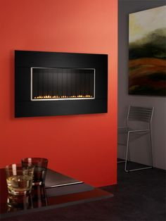 focal point midnight contemporary wall hung flueless gas fire